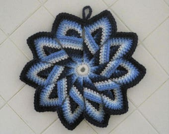 Crocheted Large Hot Pad/Trivet - Blue Burst