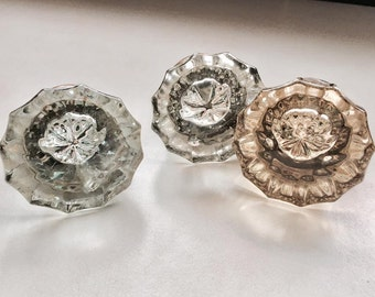 Antique Restoration Hardware Glass  doorknobs architectural hardware restoration knobs Set of three