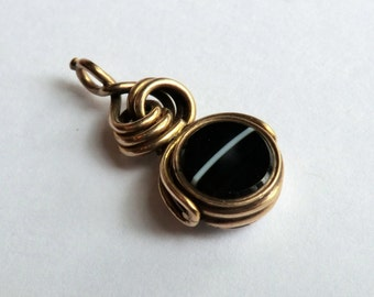 Antique Spinner Fob Banded Agate Reverse Pendant English Petite Size