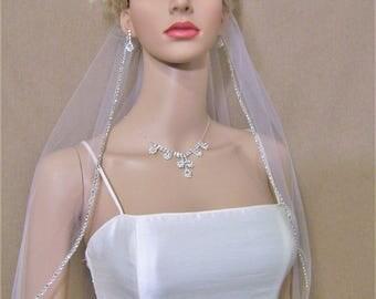 Rhinestone Wedding Veil BLUSHER, Elbow Waist Length Veil w/ Genuine Crystal Rhinestones and Extra Soft Tulle