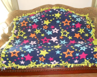 Stars on Dark Blue Lime Green Back Fleece Tie Blanket No Sew Fleece Blanket No Sew Throw Fleece Throw 48x60 Approximate size