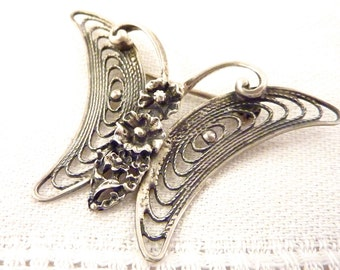 Vintage Sterling Floral Butterfly Brooch by Beau