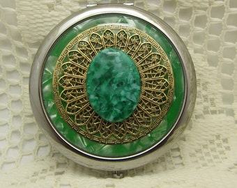 Compact Mirror Bridesmaid Gift Grasshopper Comes With Protective Pouch Green Compact Mirror