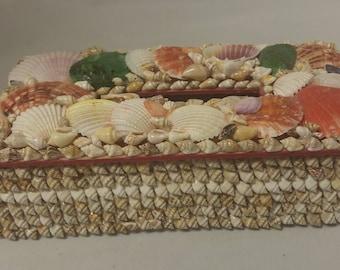 Beach Art Shell Tissue Box Cover,Bathroom Seashell Decor Nautical but Nice #B547