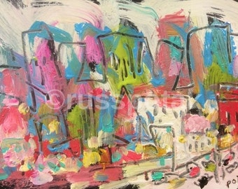 Urban City , abstract original small painting, pink, yellow, bluecity skyline, ready to mat and frame