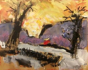 Winter Sunset Landscape , red barn original impressionist art, snow winter scene, acrylic painting, Russ Potak