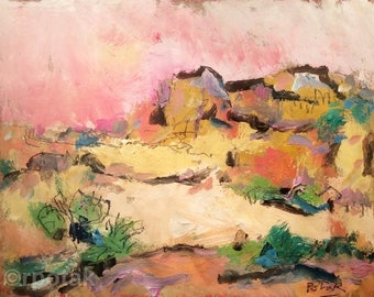 Santa Fe New Mexico landscape, Southwest Art original painting, Santa Fe, New Mexico, Russ Potak