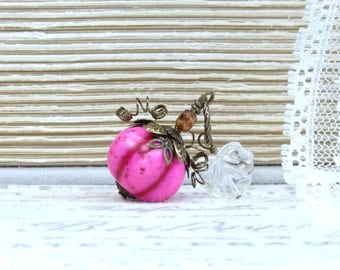 Pink Pumpkin Necklace Halloween Necklace Princess Pumpkin Autumn Necklace Fall Necklace Pumpkin Jewelry