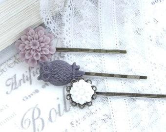 Purple Flower Hair Pins Hair Pin Set Gift for Her Purple Bobby Pin Set Purple Bobbies