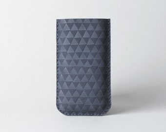 Iphone 7 or iPhone 6 leather case in navy blue with triangles - iPhone sleeve, minimalist phone case, gift for him