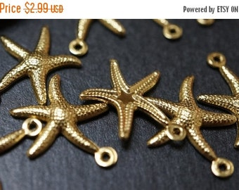 WINTER SALE CLOSEOUT Sale - High Quality Solid Raw Brass Starfish Charm Pendants - 22mm - 10 pcs