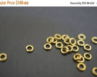 MAY SALE Tiny Little Raw Brass Round Jump Rings - 3mm x 0.6mm Thick -100 pcs