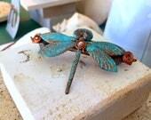 Dragonfly Barrette, Hair Clasp, Jewelry, Verdis, Swarovski, Teal, Swarovski Dragonfly Clasp, Teal Dragonfly Barrette, Copper Clasp
