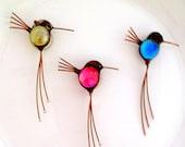 glass hummingbird, brooch, pin, sun catcher, screen bird,  magnet, mirror, hostess gift, christmas decoration