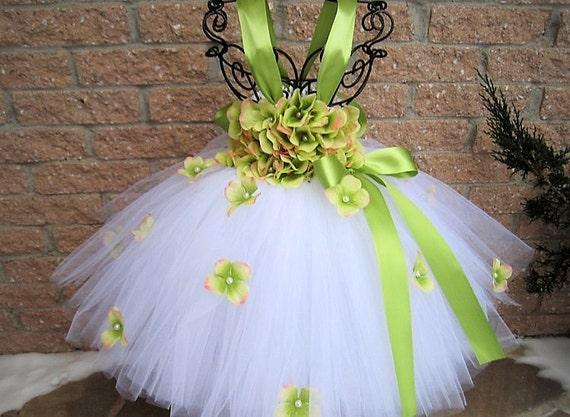 WEIß grün weißen Tutu Kleid Blumen Blumenmädchen Kleid