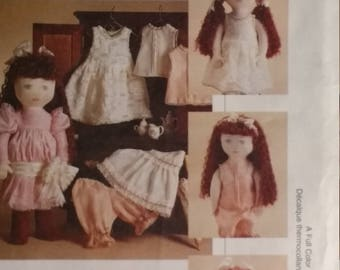 "18 Inch Doll Pattern Mccalls Crafts 7443  18 inch EMMA Doll with clothes Pattern Cloths Fit 18"" inch Dolls such as The American Girls"