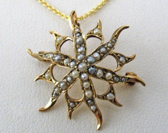 Whimsical Art Nouveau Yellow Gold Starburst accented with Seed Pearls, Pendant-Pin Combination, circa 1910. (A1203)