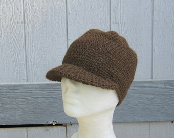 men's visor beanie/ woodland brown alpaca wool crochet- made to order