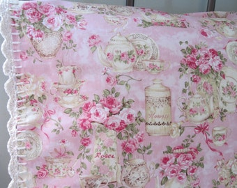 Pillowcase with Crochet Trim - English Tea and Roses