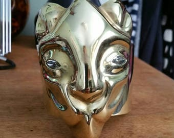 Vintage 1970s massive brass lioness cuff bracelet with jeweled eyes - signed METALES MEXICO