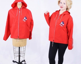 WINTER SALE / 1960s jacket vintage 60s red Walt Disney Productions Mickey Mouse employee hooded windbreaker