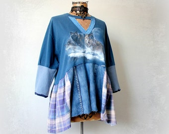 Blue Rustic Top Women's Wolf Shirt Upcycled Clothing Full Flare Tunic Casual Clothes Boho Fashion Recycle Denim Shirt Eco Chic Top L 'FARRAH