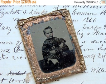 ON SALE Antique Pinch back Tin Type Photo Little One in Plaid Dress