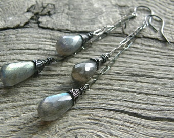 Double Labradorite Drop Sterling Silver Chain Earrings