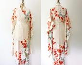 vintage kimono / kimono robe / Cherry Blossom & Peony Kimono