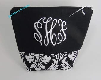 Black Damask Makeup bag