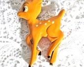 """Vintage 1940's Bakelite """"Bambi"""" Brooch/Disney Collectible/Martha Sleeper Design/Carved Painted Bakelite PinBack Deer"""
