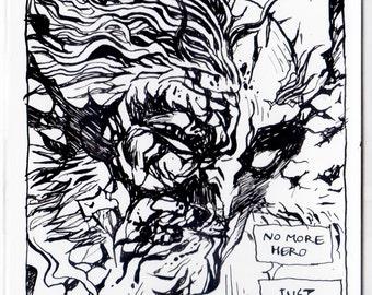 "Original ""No More Hero"" Wolverine illustration"