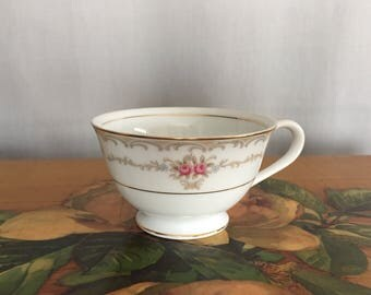 Floral Teacup Vintage Style House Fine China Princess White Gold Pink Roses Made in Japan