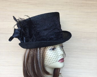 Black Top Hat, Straw Top Hat, Women's Top Hat, Victorian Top Hat, Alice in Wonderland, Mad Hatter, Kentucky Derby, Steampunk Top Hat