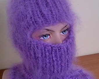 Hairy Mohair sweater Balaclava  hand knitted in Lavender by uniquemohair
