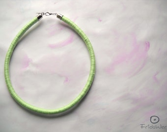 Green Pastel Mint Rope Necklace,silver plated and cotton-ThousandTwist by FridaWer-Bohemian necklace,Minimal Necklace,Textile necklace,pop