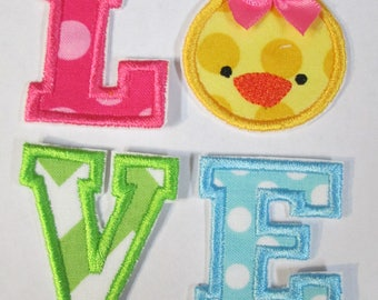 Easter Chicky Love - Iron On or Sew On Fabric Embroidered Custom Made Applique