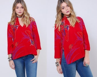 Vintage 80s BUTTERFLY Print Top RED Novelty Print Tunic ASIAN Style Blouse