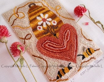 Bee Loved Bumble Bombus Skep Home Daisy Heart Punch Needle Embroidery DIGITAL Jpeg PDF PATTERN Michelle Palmer Painting w/Threads