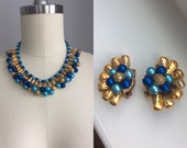 Spectacular Vintage 1950s Blue and Gold Beaded Choker Neclace with Matching Clip On Earrings