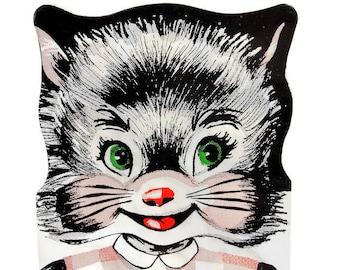 1954 Vintage DIME KITTY Cat / Money Saver Card / Paper Ephemera / Bank Souvenir / Mid Century Collectible / Anthropomorphic Black Cat