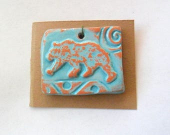 Lumbering Bear Pendant Finding, Distressed Turquoise Terra Cotta Kiln Fired Clay