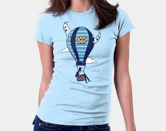 Haunted Hot Air Balloon Shirt  - Unique TShirt | T-shirt for Women Men by Drawsgood | Funny TShirt | Original Art  Blue Tshirt | Ghost Shirt