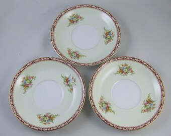 Set of 3 vintage saucers hand painted  Noritake Occupied Japan Komaru 1947 mark / porcelain / china / bone china