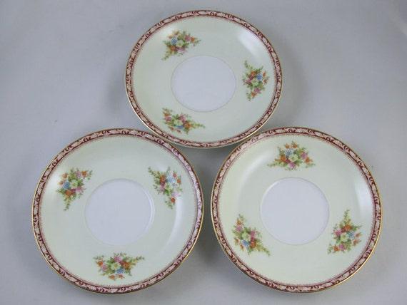 Set of 3 vintage saucers hand painted  Noritake Occupied Japan Komaru 1947 mark / porcelain / china / bone china
