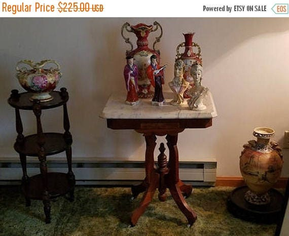 SPRING CLEANING SALE Ohio Pickup Gorgeous antique Edwardian Victorian Eastlake wood and white marble top side table / rolling caster feet /