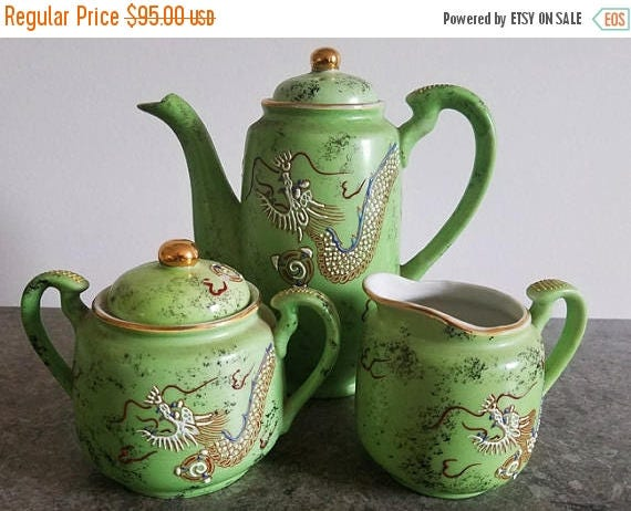SPRING CLEANING SALE Antique Victora Japan green Satsuma Moriage Dragonware hand painted porcelain ceramic lidded sugar, creamer and lidded