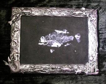 Memorial fish print on velvet gyotaku framed original artwork