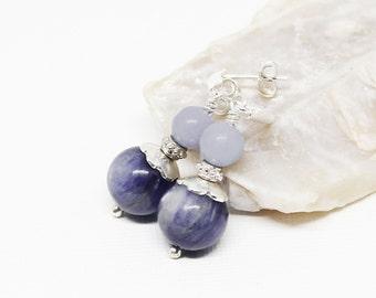 Kyanite and Angelite Gemstone . Sterling Silver Dangle Drop Earrings . Dark Denim Blue, Light Periwinkle Blue . E16224