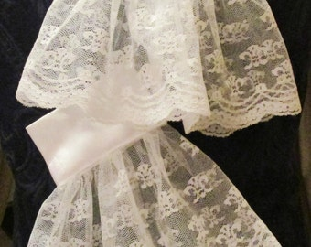 Lacey Cuffs Pirate Regency Victorian Extra Fancy - Perfect for the Gentleman of any era!  Sparkling White with Scallop Trim